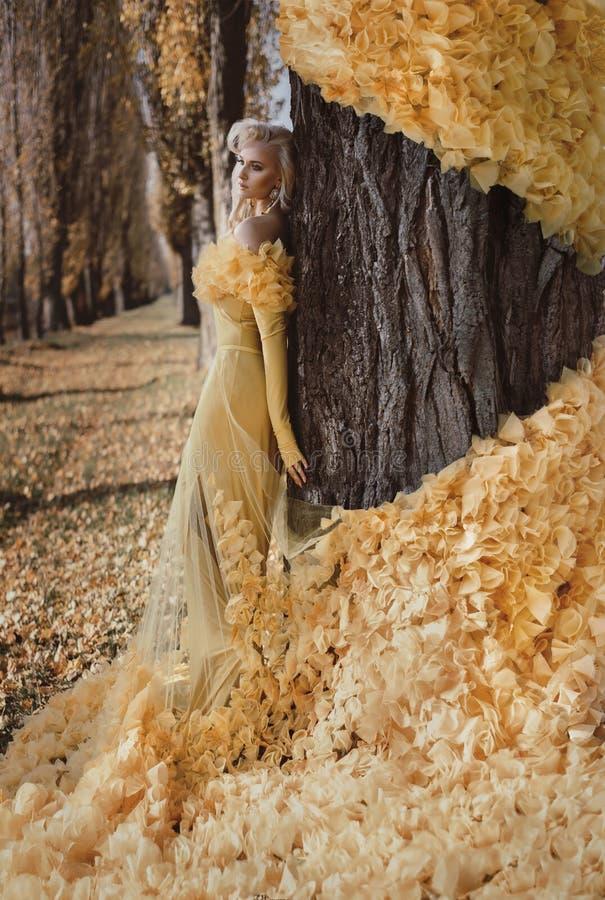 Ritratto di una bionda che porta un abito fiorito e dorato immagini stock libere da diritti