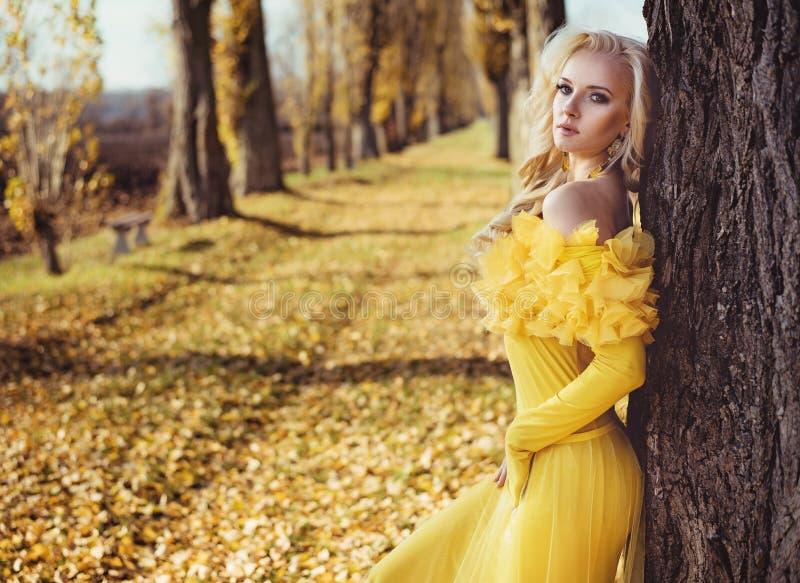 Ritratto di una bionda che porta un abito fiorito e dorato fotografie stock