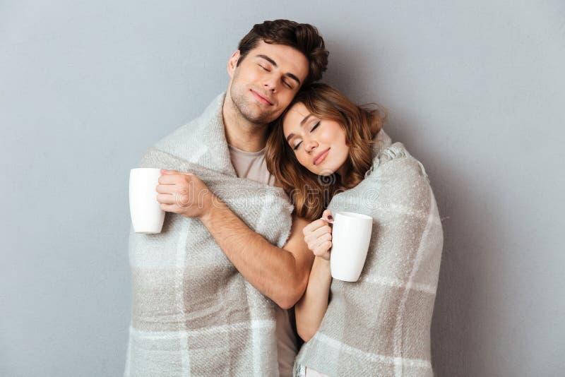 Ritratto di una condizione felice adorabile delle coppie avvolto in coperta immagini stock