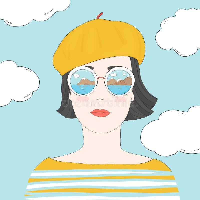 Ritratto di una donna alla moda con brevi capelli scuri in vetri rispecchiati ed in un berretto Disegnato a mano illustrazione vettoriale