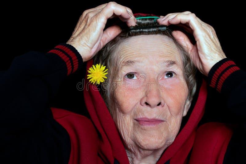 Ritratto di una donna anziana con capelli grigi che fanno i suoi capelli e che lo decorano con un fiore del dente di leone immagini stock libere da diritti