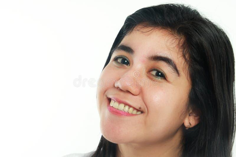 Ritratto di una donna asiatica felice con la talpa immagini stock