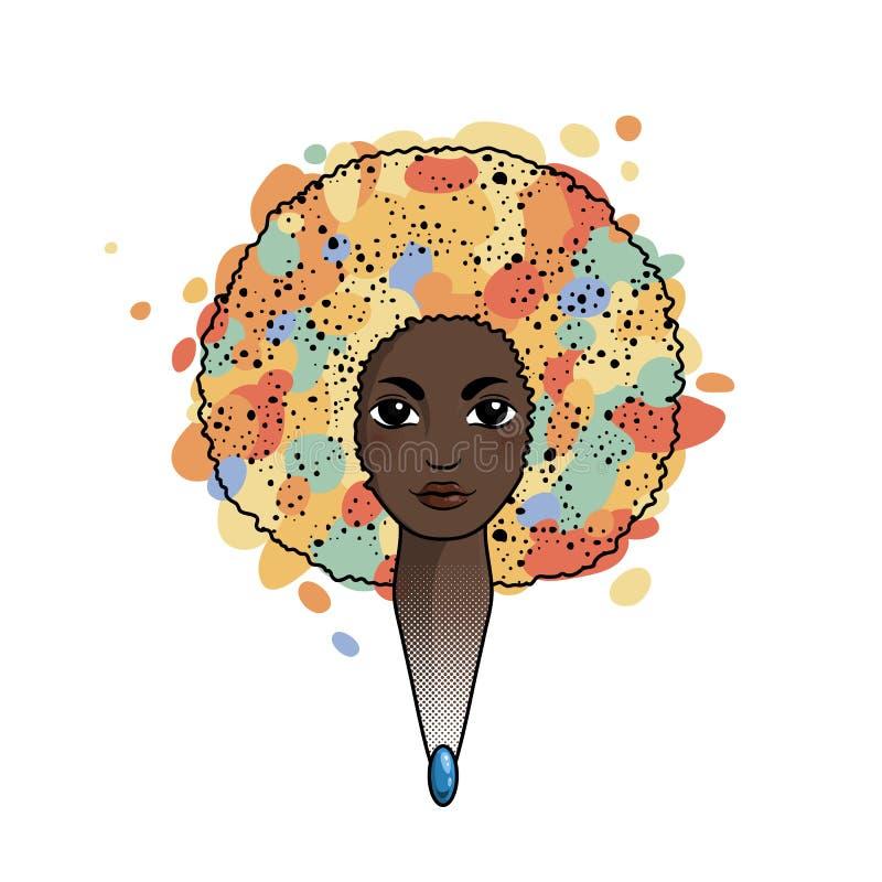 Ritratto di una donna con capelli lussureggianti nello stile di un Africano Vettore royalty illustrazione gratis