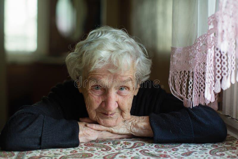 Ritratto di una donna dai capelli grigi anziana immagine stock