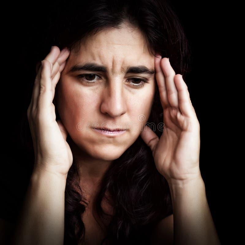 Ritratto di una donna depressa e triste immagine stock libera da diritti