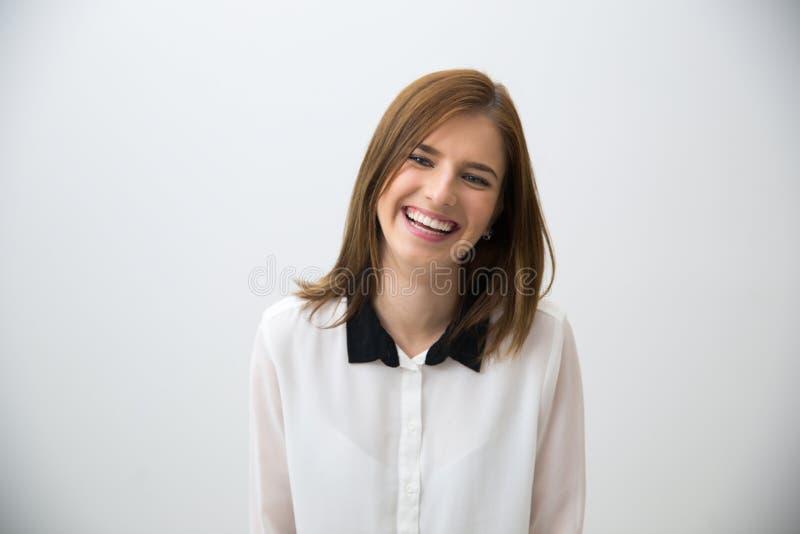 Ritratto di una donna giovane di risata di affari fotografia stock
