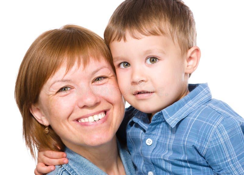 Ritratto di una madre felice con suo figlio fotografia stock