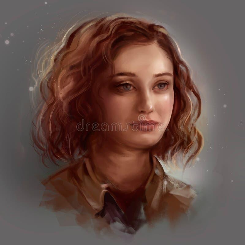 Ritratto di una ragazza con capelli ricci royalty illustrazione gratis