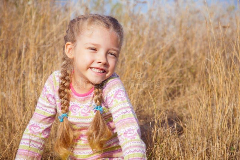 Ritratto di una ragazza con il primo piano delle trecce all'aperto immagini stock libere da diritti