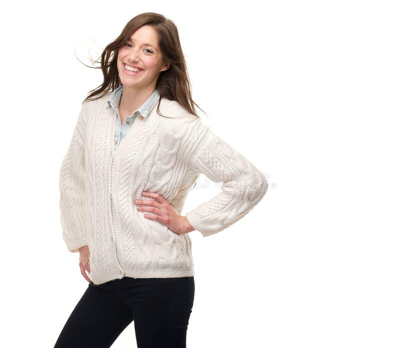 Ritratto di una risata felice della giovane donna fotografia stock libera da diritti