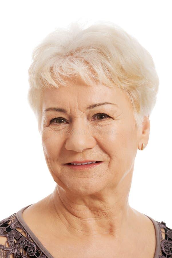 Ritratto di una signora anziana e anziana. immagini stock