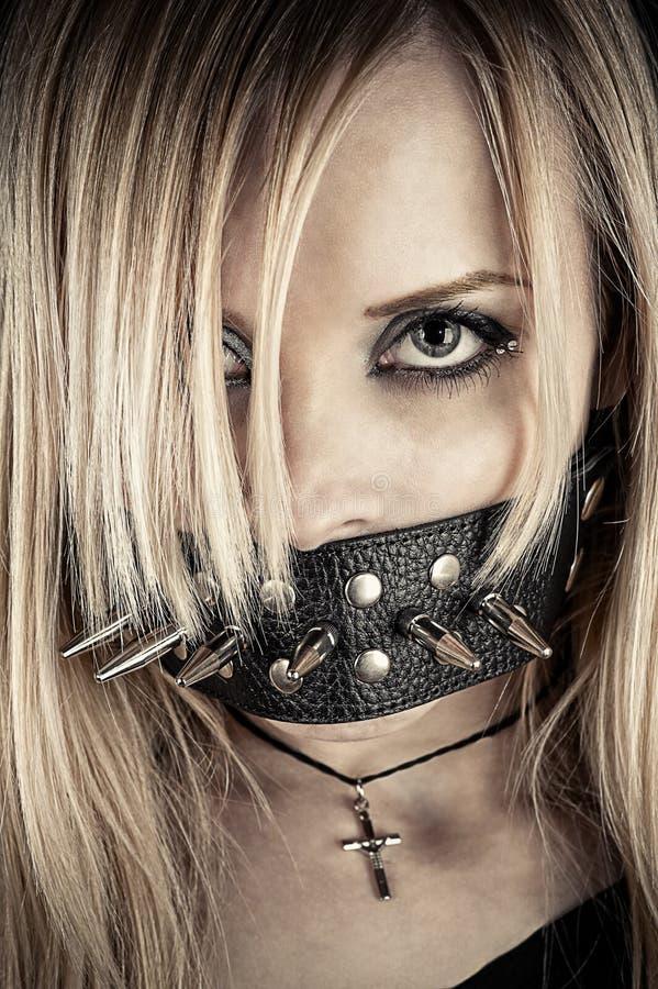 Ritratto di uno schiavo nel tema di BDSM fotografia stock libera da diritti