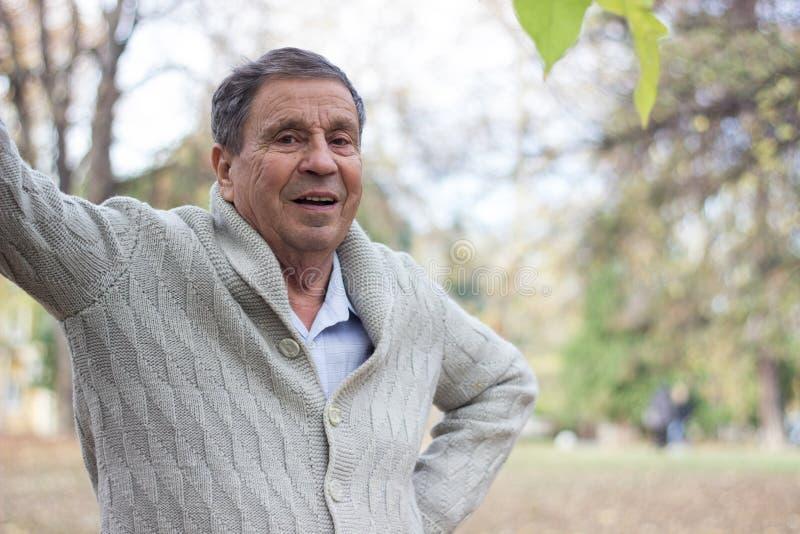 Ritratto di uomo anziano felice che sorride, nel parco pubblico, all'aperto fotografia stock libera da diritti