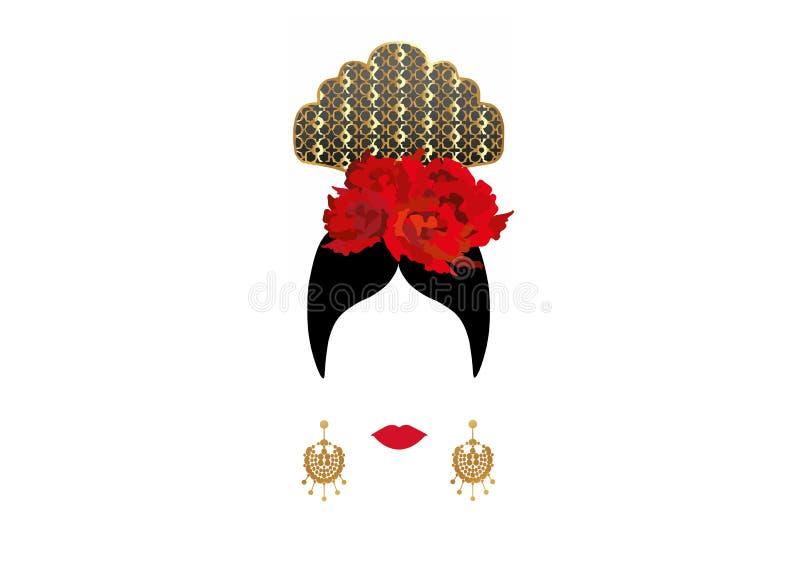 Ritratto di vettore del ballerino latino o spagnolo tradizionale della donna, signora con il peineta tradizionale degli accessori royalty illustrazione gratis