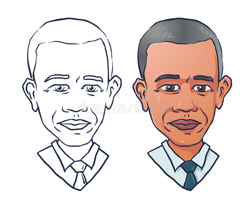 Ritratto di vettore di presidente Barack Obama illustrazione di stock