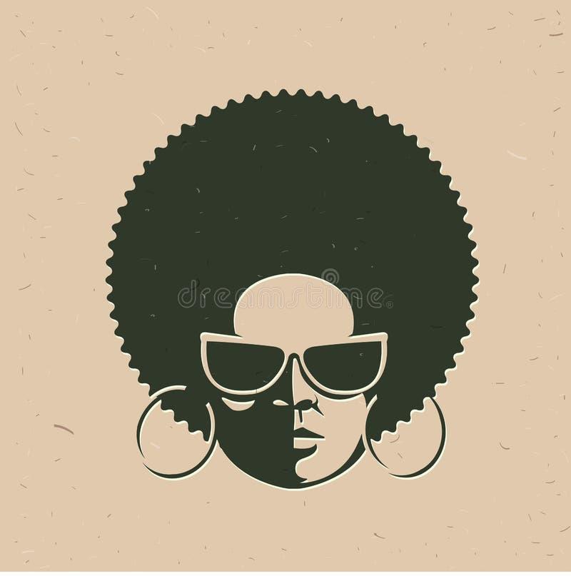 Ritratto di vista frontale di un fronte della donna di colore illustrazione di stock