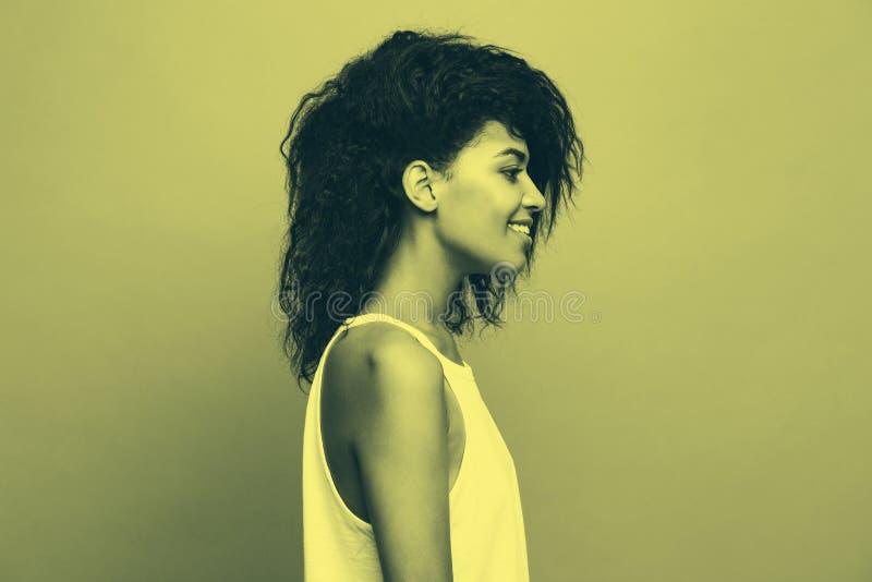 Ritratto di vista laterale di bella donna afroamericana attraente sopra il fondo bitonale dello studio Copi lo spazio e bitonale fotografia stock