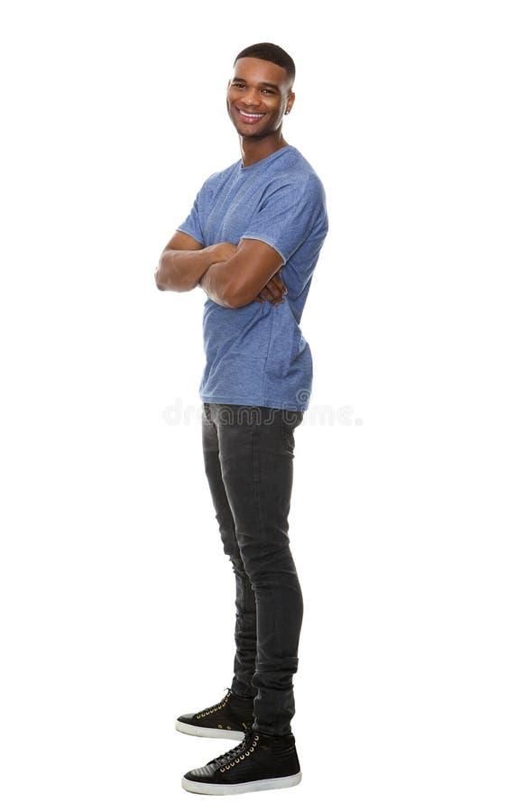 Ritratto di vista laterale di un uomo afroamericano allegro fotografia stock libera da diritti