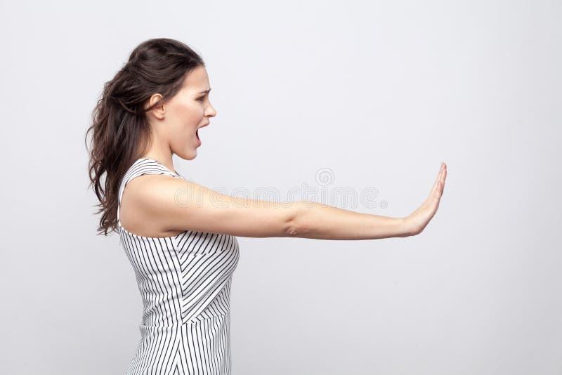 Ritratto di vista laterale di profilo di bella giovane donna castana arrabbiata con trucco e la condizione a strisce del vestito  fotografia stock