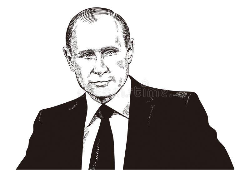 Ritratto di Vladimir Putin illustrazione vettoriale