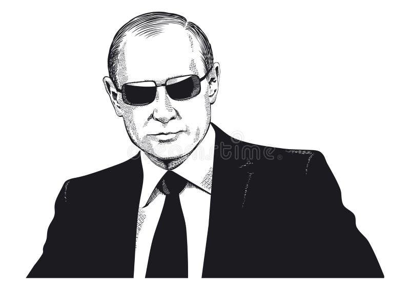 Ritratto di Vladimir Putin illustrazione di stock