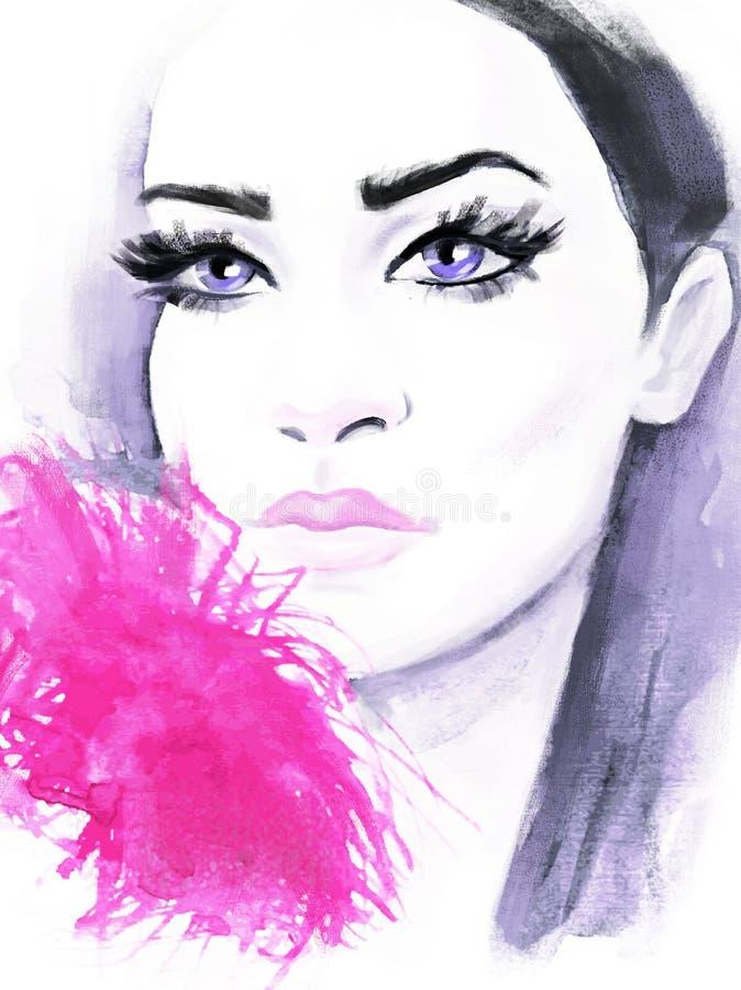 Ritratto dipinto a mano di modo di bellezza Bello modello alla moda per progettazione di modo Illustrazione astratta di modo Mode royalty illustrazione gratis