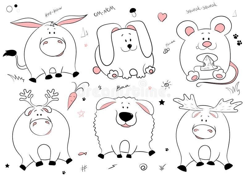 Ritratto disegnato a mano dell'animali grassi divertenti svegli Insieme degli oggetti isolati su fondo bianco Asino del witn dell illustrazione di stock