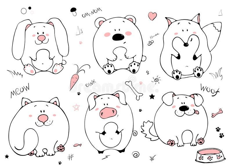Ritratto disegnato a mano dell'animali grassi divertenti svegli Insieme degli oggetti isolati su fondo bianco Illustrazione di ve illustrazione vettoriale