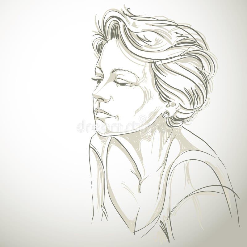 Ritratto disegnato a mano della donna triste dalla pelle bianca, tema di emozioni del fronte illustrazione vettoriale