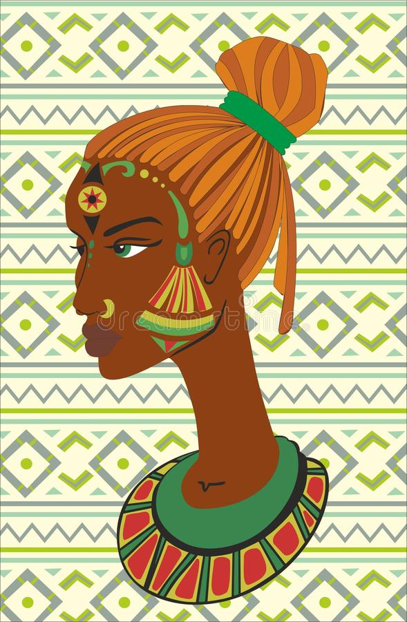 Ritratto disegnato a mano delle donne afroamericane immagine stock libera da diritti
