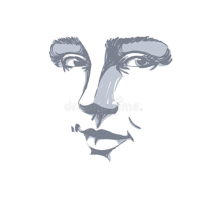 Ritratto disegnato a mano di vettore in bianco e nero del flirtin dalla pelle bianca royalty illustrazione gratis