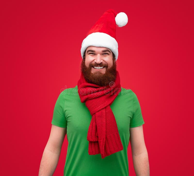 Ritratto divertente dell'uomo adulto barbuto in vestiti dell'elfo di natale immagine stock libera da diritti