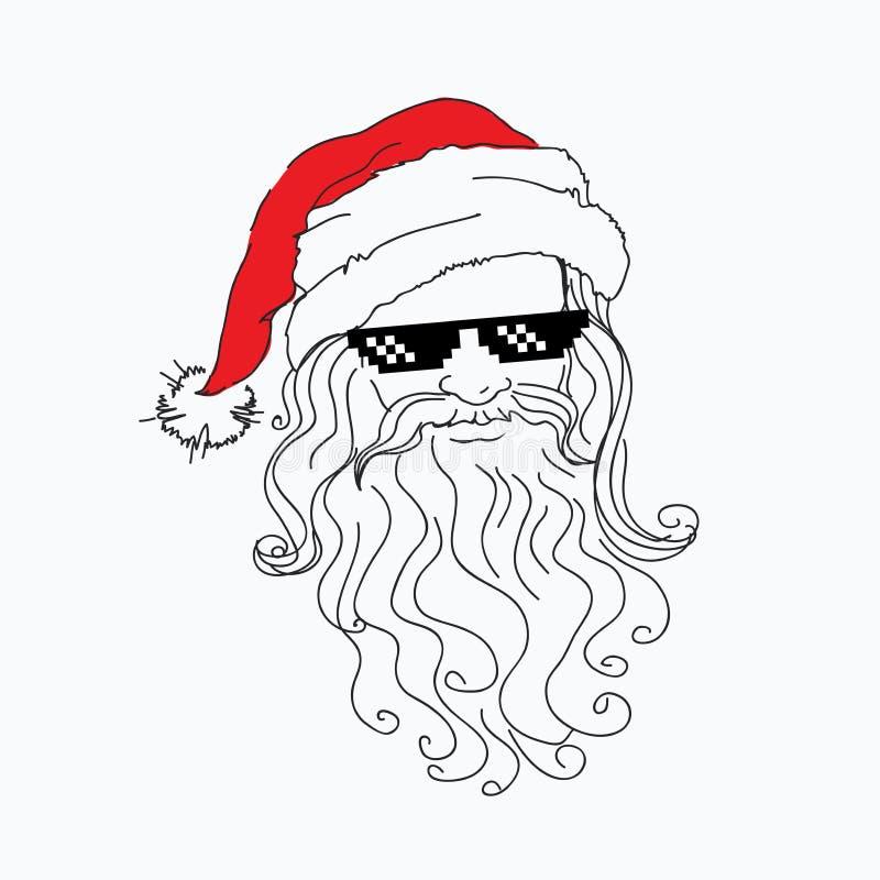 Ritratto divertente di Santa Claus in cappello rosso in occhiali da sole ripidi del nero del pixel natale fresco del padre Natale illustrazione di stock