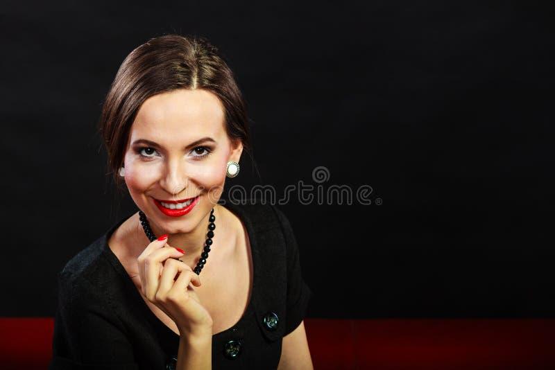Ritratto elegante di signora della retro donna immagini stock