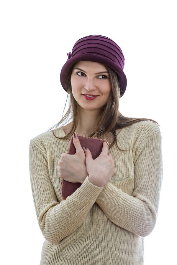 Ritratto f una donna con un portafoglio immagini stock libere da diritti