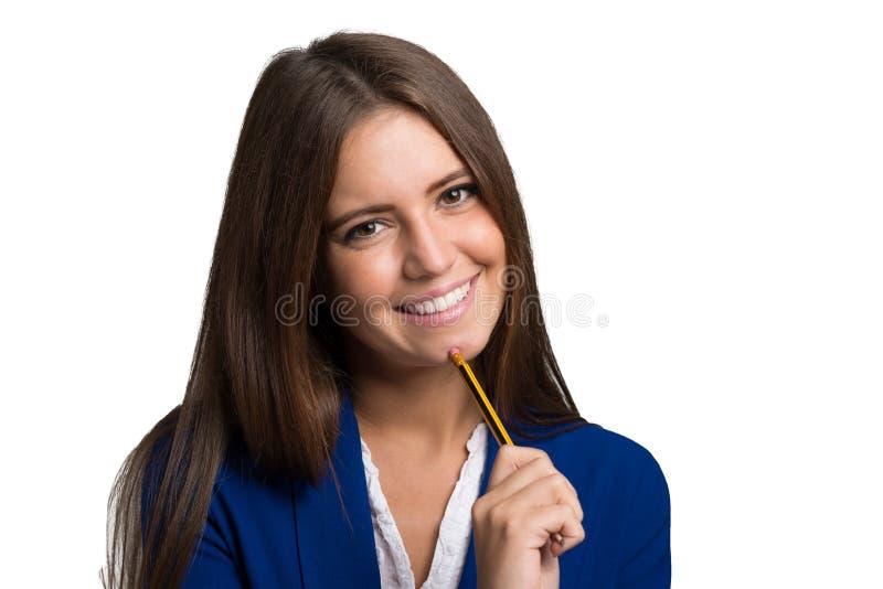 Ritratto felice della donna isolato su bianco fotografia stock libera da diritti