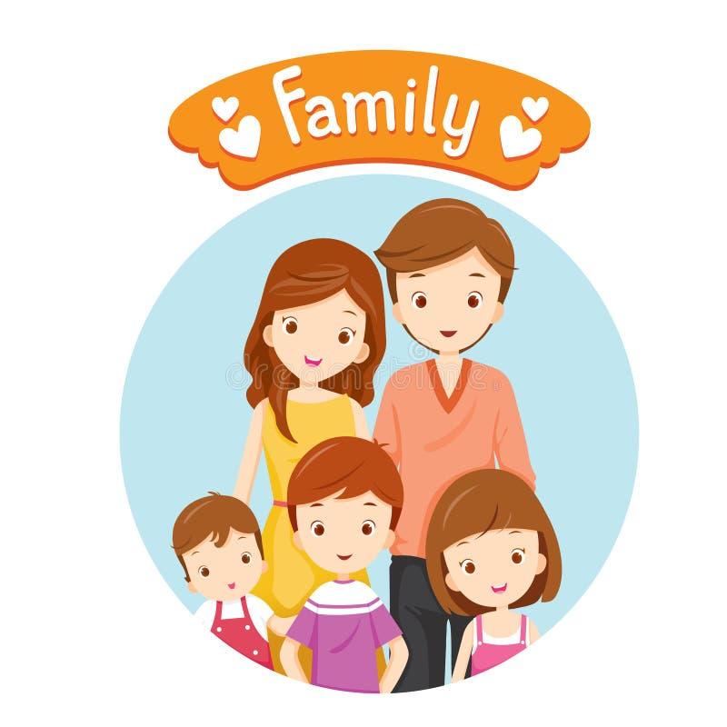 Ritratto felice della famiglia illustrazione di stock