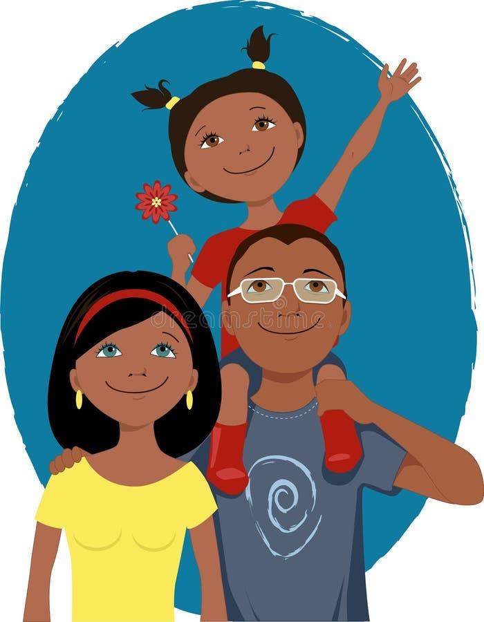 Ritratto felice della famiglia del fumetto royalty illustrazione gratis