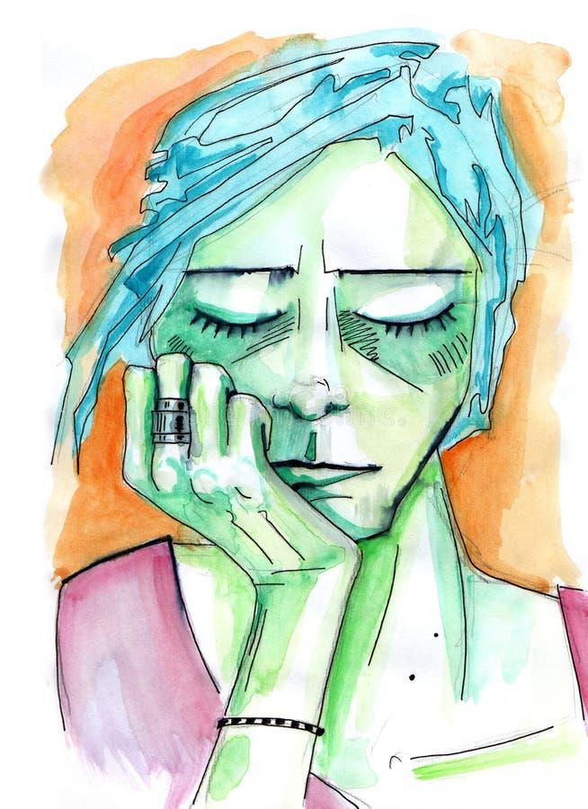 Ritratto femminile con lei occhi chiusi e mento sulla sua mano royalty illustrazione gratis