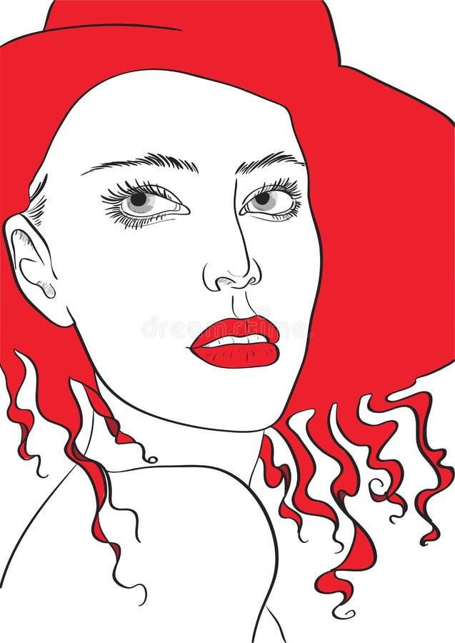 Ritratto femminile di modo in un cappello rosso royalty illustrazione gratis