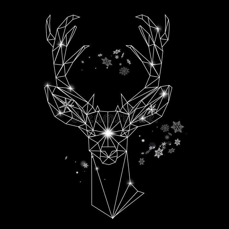 Ritratto geometrico del profilo di Natale di un cervo illustrazione di stock