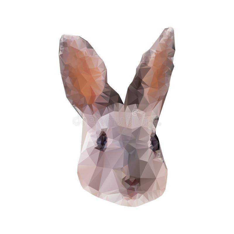 Ritratto grigio del coniglio in basso poli Illustrazione poligonale astratta illustrazione vettoriale