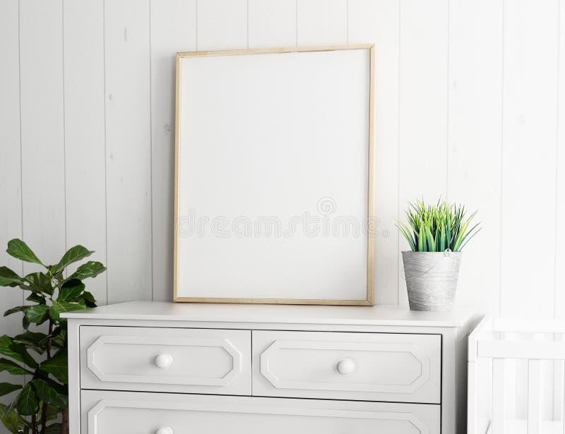 Ritratto illustrationVertical orizzontale del modello 3d dello spazio in bianco della pagina del manifesto del paesaggio illustrazione di stock
