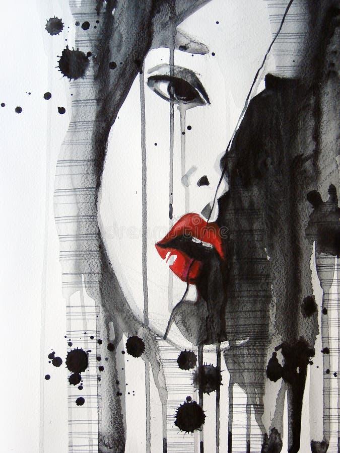 Ritratto illustrato di bella ragazza illustrazione vettoriale
