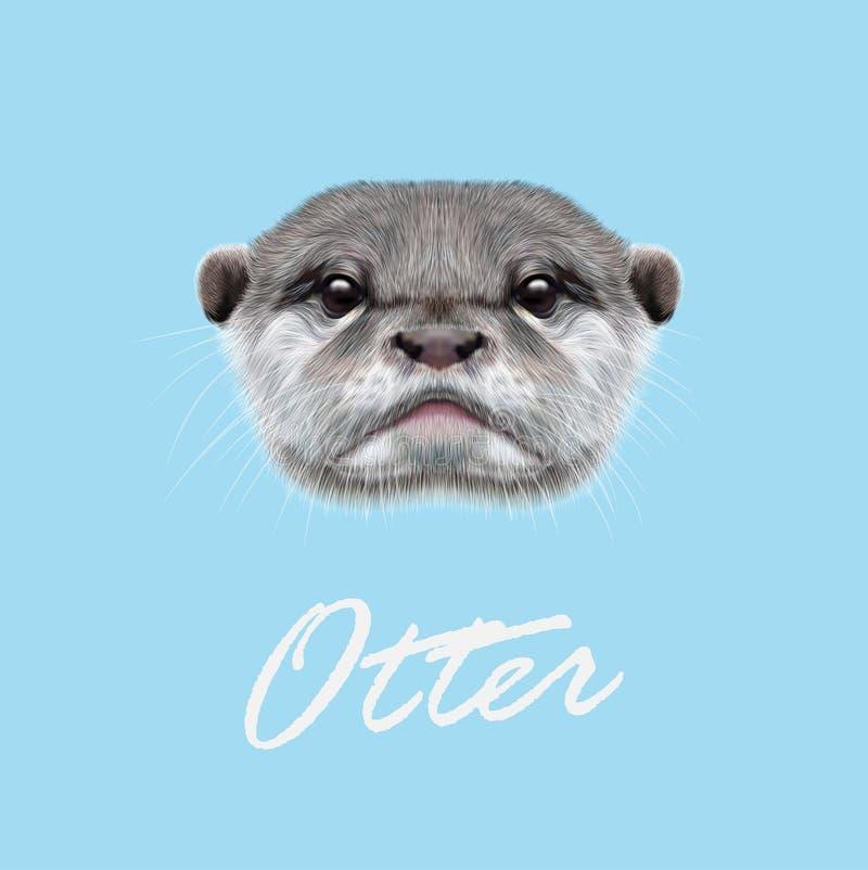 Ritratto illustrato vettore della lontra fotografia stock