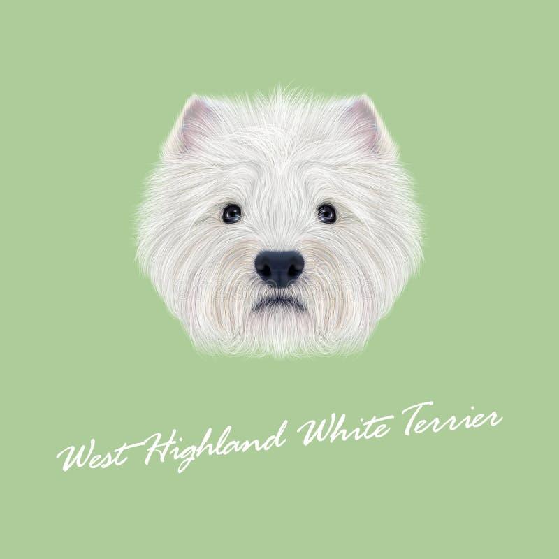 Ritratto illustrato vettore di bianco Terrier di West Highland illustrazione vettoriale