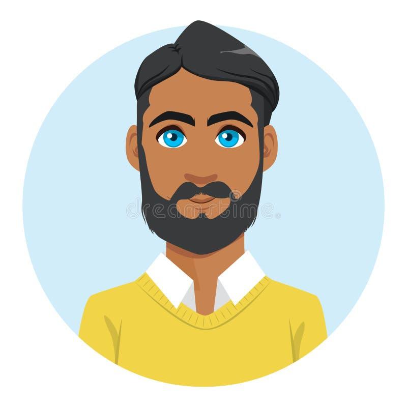 Ritratto indiano dell'avatar dell'uomo illustrazione vettoriale