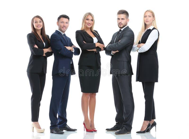 Ritratto integrale del gruppo di gente di affari, isolato su bianco fotografia stock