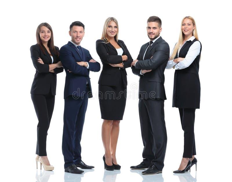 Ritratto integrale del gruppo di gente di affari, su bianco fotografie stock libere da diritti