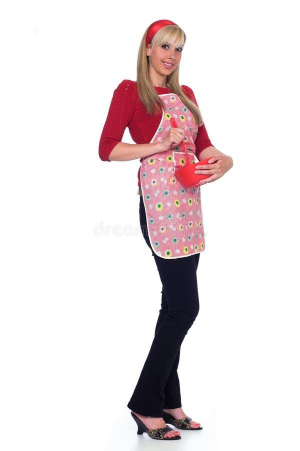 Ritratto integrale della casalinga felice fotografia stock